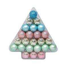 Christmas Ornament Set Pastels 40mm  Ct ($5) ❤ liked on Polyvore featuring home, home decor, holiday decorations, gold home decor, glitter christmas ornaments, pastel home decor, target christmas ornaments and gold christmas ornaments