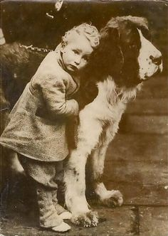 vintage photo of boy with Saint Bernard. How the Saints have changed in looks! Vintage Children Photos, Vintage Pictures, Old Pictures, Dogs And Kids, Animals For Kids, Vintage Illustration, Nanny Dog, Me And My Dog, Children Photography