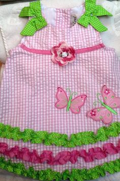Girls Baby Infant Pink Gingham Dress Sundress - Handmade Irish Rose - Pink, White, Green - Sizes 6 months use thin, cotton thread to make my own lace,