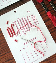 Year In Stitches 2014 Calendar Kit by Heather Lins Home on Scoutmob Shoppe. Awesome interactive cross-stitch calendar.