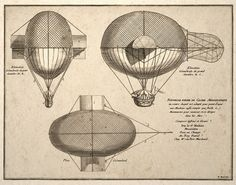 Steampunk Wall Art Print French Airship Balloon Drawing #Steampunk