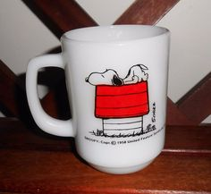 Fire King SNOOPY Mug I Think I'm Allergic To Morning 1958 Ovenproof Coffee Cup…