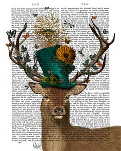 Hey, I found this really awesome Etsy listing at https://www.etsy.com/listing/186852111/the-mad-hatter-deer-print-deer