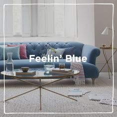 Beautiful blues and watery hues to see you through the April showers. Wellies on, brollies up and don't forget. April showers bring May flowers! Brollies, Comfy Sofa, May Flowers, April Showers, Sofas, Ottoman, Dining Table, Couch, Living Room