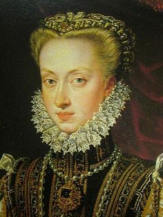 Anna of Austria, (1549-1580).  Philip II of Spain is without a male heir when his son Don Carlos dies. Anna becomes his fourth wife, she is beautiful and young, they are married in 1570. She is connected to the powerful Habsbugs and this marriage unites the two most powerful empires in Europe. Both empires are Catholic, and this again puts pressure on the prevaricating Elizabeth to marry and secure the succession with a male heir.  Maria has three sons but only one survives into adulthood.