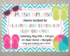 PRINTED or DIGITAL Beach Chevron Flip Flops Birthday Invitations 5x7 Customized Invites Beach Splish Splash Pool Birthday Design 0.82 each