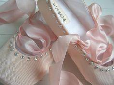 Baby Ballet Shoes,Vintage Pink Taffeta, 'Juliette', Ballet Slippers, Flower Girl, Baby Girl,Toddler Flats,  Bobka Shoes by BobkaBaby
