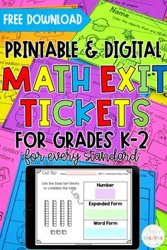 Check out these Printable and Digital Math Exit Tickets for K-2 for formative assessment today! These Math Exit Tickets are a great way to quickly and easily assess your students in-person or for distance learning. They follow Common Core standards and are now available on Google Classroom or Seesaw for 1st and 2nd grade. Perfect for whole group, independent work, test prep and MORE! Make sure to get your FREE download of sample math exit tickets today or get the printable or digital set today.
