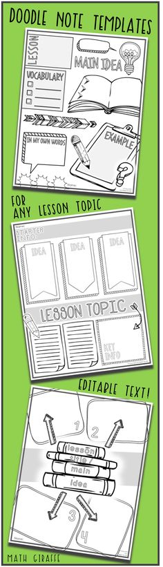 Editable Doodle Note Templates SET 1 Templates for making interactive doodle notes (any class, any topic / subject, and any grade level) … Based on brain research — Doodle notes increase focus, learning, and retention Teaching Reading, Teaching Resources, Learning, Teaching Ideas, Math Notebooks, Interactive Notebooks, Notes Template, Templates, Cornell Notes