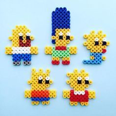 The Simpsons perler beads by pumpkinpiemakes Easy Perler Bead Patterns, Melty Bead Patterns, Perler Bead Templates, Diy Perler Beads, Perler Bead Art, Pearler Beads, Fuse Beads, Beading Patterns, Perler Bead Disney