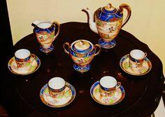Rare Antique Tea / coffee Set Hand Painted Fine Porcelain – Never Used Antique Tea Sets, Rare Antique, Chocolate Pots, Chocolate Coffee, Blueberry Tea, Pot Sets, Coffee Set, Fine Porcelain, Art Decor