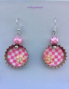 Colorful bottle cap earrings for work or play! These handmade earrings are made with bottle caps & beads & include nickel free hardware & plastic backings. These earrings measure Bead Bottle, Bottle Cap Earrings, Bottle Cap Jewelry, Bottle Cap Art, Bottle Cap Crafts, Diy Bottle, Red Earrings, Cute Earrings, Plastic Bottle Caps