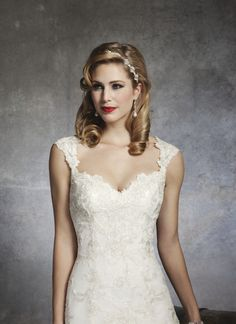 Lace cap sleeve sweetheart neckline wedding dress