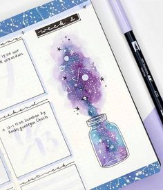 12 Galaxy and Space Themed Bullet Journal Spread - - Plu - 12 Galaxy and Space Themed Bullet Journal Spread - Looking for Inspiration on your latest Bullet Journal theme? Here are 12 Out of this world galaxy and space themed bullet journal spreads Bullet Journal 2020, Bullet Journal Notebook, Bullet Journal Aesthetic, Bullet Journal Spread, Bullet Journal Layout, Bullet Journal Ideas Pages, Bullet Journal Inspiration, Bullet Journals, Bullet Journal Numbers