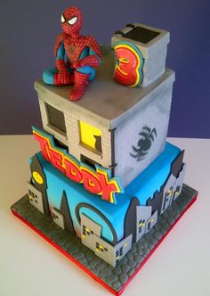 Spiderman - For all your cake decorating supplies, please visit… Spiderman Birthday Cake, Superhero Cake, Birthday Cakes, Spiderman Theme, Amazing Spiderman, Fancy Cakes, Cute Cakes, Avenger Cake, Decoration Patisserie