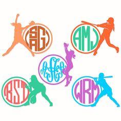 Softball Monogram Cuttable Svg Designs by CuttableSVG on Etsy