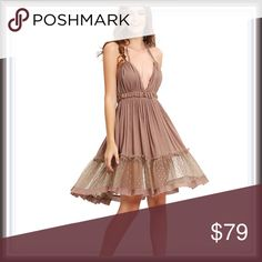 NWT Mocha Princess Dress ➖NWT ➖SIZE: XS, Small ➖STYLE: A mocha colored Lace open back dress with intricate Lace designs and a tulle like lace skirt.  ❌NO TRADE   536809 short prom homecoming Stripe Dresses Backless