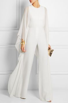 Solid Cape Sleeve Hollow Out Chiffon Wide-Leg Jumpsuit The solid color cape sleeve hollow out chiffon wide leg jumpsuit is a good choice of fashion and it suits many summer occasions. jumpsuit casual,jumpsuit outfit work,how to wear jumpsuit,casual jumpsu Unconventional Wedding Dress, White Fashion, Feminine Fashion, Modest Fashion, Silk Chiffon, Types Of Sleeves, Evening Dresses, Ideias Fashion, Street Style