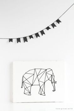DIY: geometric stitched animal art