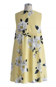 Dulcet Peonies Shift Dress in Yellow - Dress - Retro, Indie and Unique Fashion