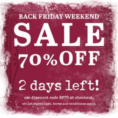 ***2 days left!*** Black Friday Weekend Sale. 70% off our full price range. This weekend only!!! Use discount code BF70 at the checkout. #blackfriday #sale #onebutton #jewellery #scarves #accessories