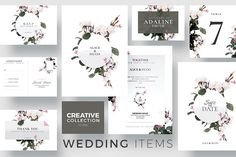 wedding stationery floral flowers Creative Wedding Collection | 10 by Creative Flyers on @creativemarket