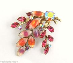 Vintage Rhinestone and Glass Pin