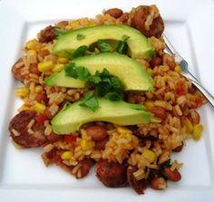 Arroz Antioqueno (Rice with Chorizo, beans, plantainas and avocado)