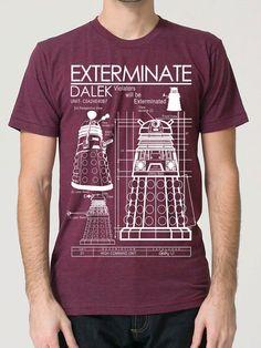Dalek Exterminate T Shirt american apparel S M L XL by GeekyU1