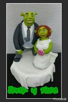 Shrek y Fiona topper para tarta