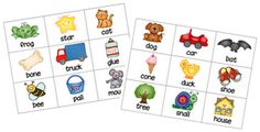 Rhyming concentration game.  Blog has other printable concentration games..cute
