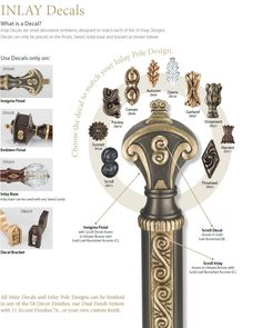 Inlay decals-Small carved adornments and decals can be added to finials and brackets Window Hardware, Window Treatments, Design Art, Door Handles, Decals, Drum Major, Carving, Decorating Ideas, Curtains