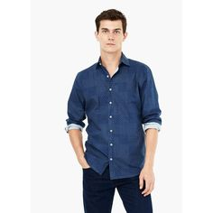 Camicia slim-fit chambray patchwork - Camicie da Uomo   MANGO (€40) via Polyvore