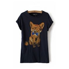 Cute Fox Printing Short Sleeves T-shirt found on Polyvore featuring polyvore, women's fashion, clothing, tops, t-shirts, 6ks, shirts, fox t shirts, blue t shirt and short sleeve shirts