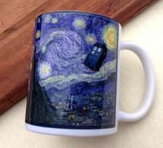 INTRODUCTORY SALE, Dr. Who, Scream with Weeping Angel, Van Gogh's Starry Night, 11 ounce Ceramic Mug, Dishwasher safe. $14.95, via Etsy.