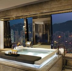 Jacuzzi inside The Ritz-Carlton Suite at 5 star hotel: The Ritz-Carlton Hong Kong. This hotel's address is: 1 Austin Road West, International Commerce Centre, Tsim Sha Tsui Hong Kong and have 312 rooms New York Penthouse, Penthouse Suite, Luxury Penthouse, Home Luxury, Luxury Homes, Luxury Lifestyle, Luxury Living, Modern Living, Luxury Cars