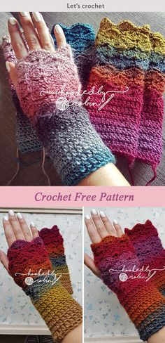 This Crochet Fantail Shell Stitch Fingerless Gloves Free pattern is a colorful and cozy pattern that's perfect for cold days. Make one now with the free pattern provided by the link below. Crochet Fingerless Gloves Free Pattern, Fingerless Mittens, Bonnet Crochet, Crochet Beanie, Crochet Cardigan, Crochet Shawl, Crochet Simple, Free Crochet, Crochet Gifts