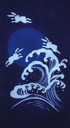 "A white rabbit crossed the ocean from Kino Island to the mainland at Inaba by using the backs of sharks as stepping stones and thus appeared to be running over the tops of the waves. This story became the theme of a Noh song that translates roughly, ""While the moon floats over the ocean, a rabbit runs over the waves--what interesting island scenery""."