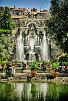 VILLA D'ESTE....a 16th-century villa in Tivoli, Italy....famous for its terraced hillside Italian Renaissance garden and its many fountains....construction began in 1560....completed in 1569...built as the official residence of the Governor of Tivoli on the site of a former convent of the Benedictine order (which was built in the 9th century on the site of an old Roman villa)
