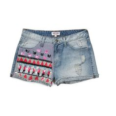 THE FESTIVAL COLLECTION - INDIA HIGH-WAISTED SEQUINED DENIM SHORTS ($89) ❤ liked on Polyvore