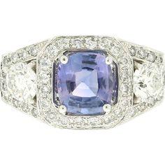 Modern Estate 14K Ceylon Sapphire & Diamond Ring from artisansalcove on Ruby Lane