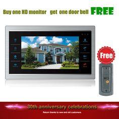 Homefong Buy One Get One Free 7 Inch Video Door Phone Monitor Intercom System/Kit Free Doorbell Camera(Night Vision 600TVL)