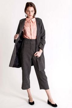 A mix of cotton and wool coat with side pockets and front coated buttons. Design by Dott. Piece Of Clothing, Wool Coat, Branding Design, Harem Pants, Breast, Feminine, Spring Summer, Buttons, Pockets