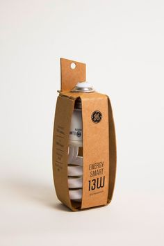 This is an eco-friendly light bulb packaging for a single GE Energy Smart light bulb. It is constructed from a single sheet of recycled chipboard using no glue and minimal ink. The idea was to find a way to use the least amount of material while still offering protection.  Michelle Wang