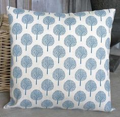 Tree Print Cushion Cream - - Hicks and Hicks Printed Cushions, Scatter Cushions, Throw Pillows, Geometric Trees, Tree Lighting, Tree Print, Color Trends, Light Blue, Colours
