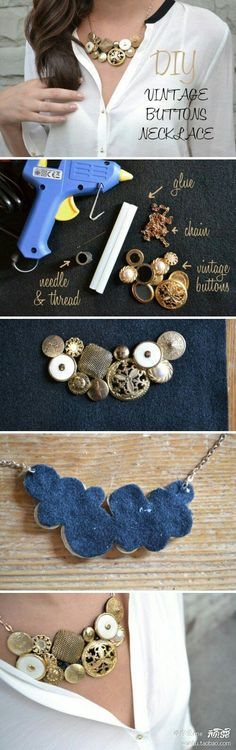 How to make a necklace with butyons ** DIY Tutorials ** Como hacer un collar con botones
