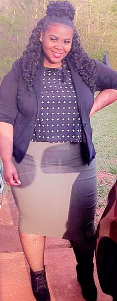 Plus size, plus size fashion, black, olive, green, pencil skirt, blazer, black blazer, olive green pencil skirt, cross blouse, cross shirt