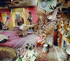 Color photos of The Addams Family television show set