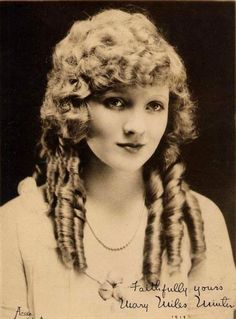 Mary Miles Minter, who had a strong career in the movies in the early 1920s as an ingenue before the scandal surrounding the murder of director William Desmond Taylor destroyed her image of innocence.