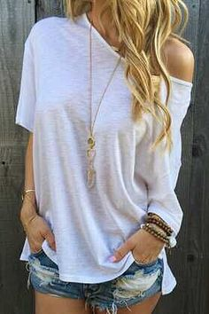 Solid Color Oblique Shoulder T-Shirt WHITE: Tees | ZAFUL